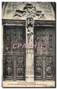 Old Postcard Aix en Provence Carved door of the Cathedral St Sauveur
