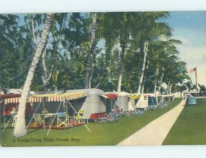 Unused Linen Camping OLD TRAILERS AT CAMPGROUND state of Florida HM9243-12