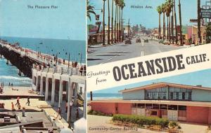 Oceanside California Greetings Multiview Pier Mission Ave Postcard J70411