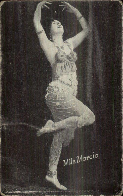 Sexy Woman Early Burlesque Pin-Up Girl Exhibit Card MLLE MARCIA