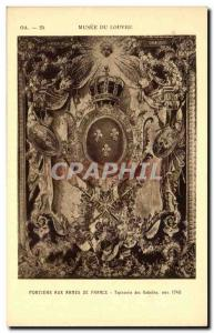 Old Postcard Paris Louvre Museum Portiere the arms of France Gobelins Tapestr...