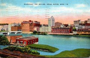 Michigan Grand Rapids Riverfront and Skyline 1940