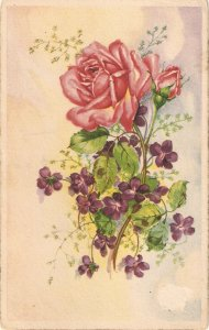 Rose and violet flowers Nice vintage Spanish postcard
