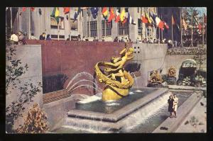 New York, NY Postcard, Prometheus Statue, Rockefeller Center