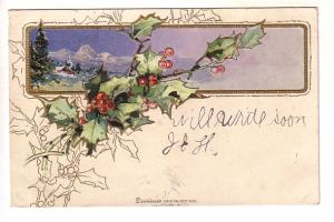 Holly with Winter Scene, Dennison's Christmas Post Cards, Split Ring Cancel, ...
