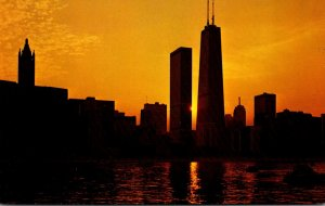 Illinois Chicago Skyline With John Hancock Center Building At Sunset