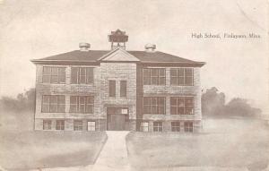 Finlayson MN Little Belfry Over Rural High School~Round Metal Chimney Tops c1910