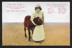 Girl w/Cow Clay Robinson & Co Live Stock Sellers used c1909