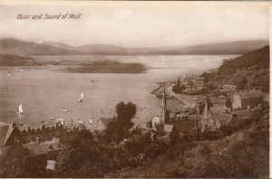 P1895 old RPPC air view oban and sound of mull town & harbor scotland