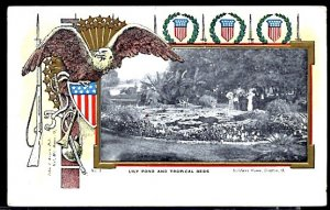 Lily Pond at the Soldier's Home Dayton Ohio UDB Embossed Eagle Shield Rifle