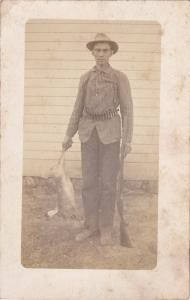 RP, Hunter with Rabbit and Rifle , 1900-10s