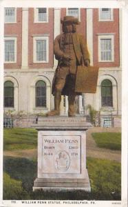 Pennsylvania Philadelphia William Penn Statue Curteich