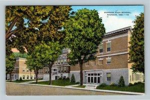 Warsaw IN-Indiana, Warsaw High School, Linen Postcard