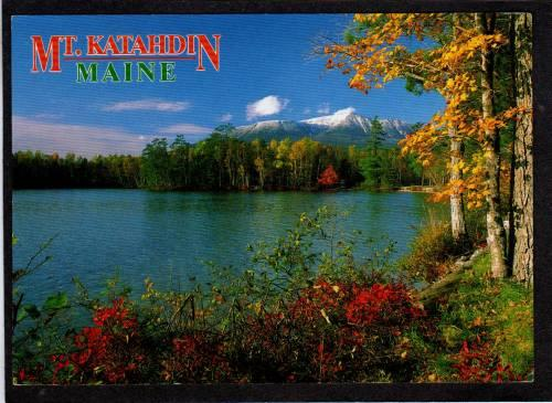 ME View of Mt Katahdin from TOGUE POND MAINE Postcard