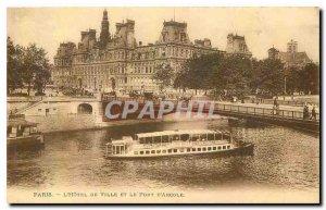 Old Postcard Paris Hotel de Ville and the Bridge of Arcola boat Peniche