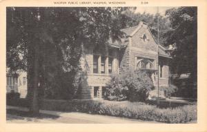 Wampun Wisconsin~Short Hedges Around, Large Shrubs by Carnegie Library~1940s