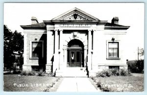 RPPC  GRAFTON, North Dakota ND ~ PUBLIC LIBRARY Walsh County c1940s Postcard