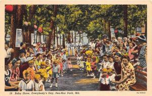 D92/ Pen-Mar Park Maryland Md Postcard Linen Baby Show Everybody's Day