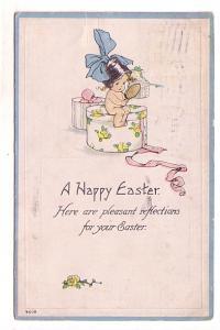 Little Girl with Big Hair Bow on Hat Box, Easter, Flag Cancel, Everett