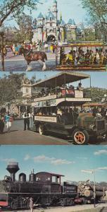 Walt Disney Disneyland Transportation 3x 1960s Postcard s