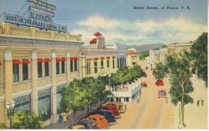 Street Scene Ponce Puerto Rico Porto Rico Old Cars Vintage Linen Postcard E5