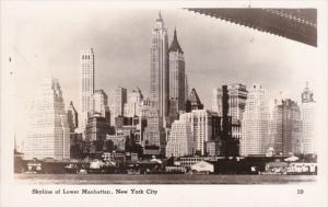 New York City Skyline Of Lower Manhattan Real Photo