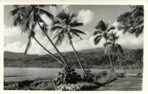 PC CPA SAMOA, PACIFIC, BEACH SCENE AND PALM TREES, Vintage Postcard (b19440)