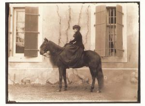 Swiss Victorian Switzerland Lady Cavalier Morges Horse Postcard