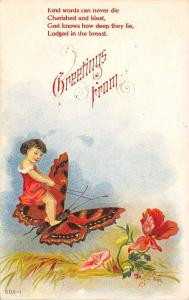 Fantasy~Little Girl Rides Monarch Butterfly~Reins on Antennae~Red Flowers~Emboss