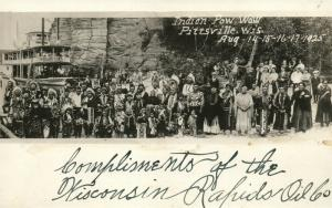 AMERICAN NDIAN POW WOW PITTSVILLE WI 1925 ANTIQUE REAL PHOTO POSTCARD RPPC