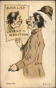 Man Sees Himself on Poster BLACK LIST LATEST ADDITION c1910 Postcard