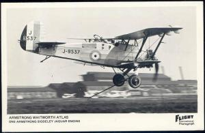 British Single-Engine Biplane Armstrong Whitworth Atlas J-9537, Flight RPPC