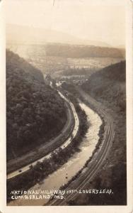 Cumberland Maryland~National Highway-US 40 from Lover's Leap~1927 RPPC