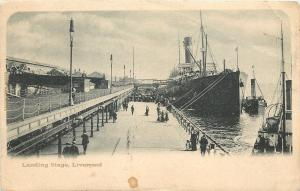 Liverpool UK~Steamship Crowds Waiting @ Landing Stage 1910 B&W