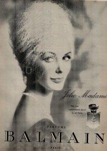 1961 Balmain Perfume Jolie Madame Most Sophisticated Vintage Print Ad 2280