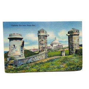 San Juan Puerto Rico Capitolio Linen Vintage Postcard