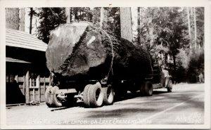 La Poel on Lake Crescent WA Giant Fir Log Truck Ellis #3340 RPPC Postcard F61