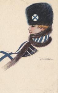 ART DECO ; NANNI ; Country Flag Scarf Girl FINLAND , 1910-30s