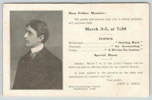 Washington IA~Rev Abels Calls Lord's Supper Prep Services~Presbyterian~c1910 B&W