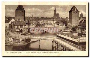 Old Postcard Strasbourg View taken of covered bridges
