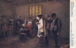 Madame Tussards Exhibit Of Mary Queen Of Scots Execution Antique Postcard