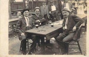 RPPC Beer Garden Men Beer Mugs Suits Hats Drinking AZO Real Photo Unused