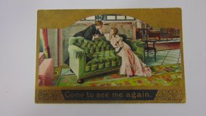 Antique 1909 Come to see me again Couple Postcard