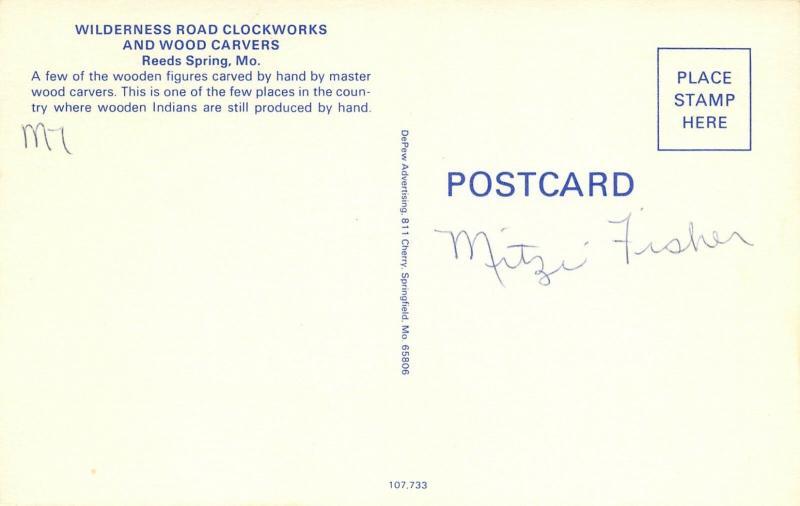 Reeds Spring Missouri~Wilderness Road Clockworks~Wood Carvers~Indians~1960s PC