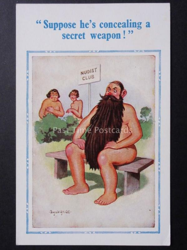 Donald McGill: Bearded Nudist SUPPOSE HE'S CONCEALING A SECRET WEAPON! No.1502