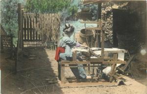 1911 Japan Hand Colored Woman Weaver Occupation Ethnic Dress Postcard