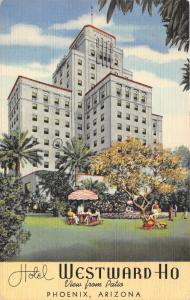 Phoenix Arizona~Hotel Westward Ho~View from Patio~1947 Linen Postcard