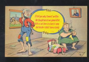 HILLBILLY OLD FAT WOMAN KNITTING VINTAGE COMIC POSTCARD MWM CO.