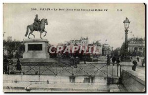 Paris - 1 - The New Bridge and the Statue of Henri IV Old Postcard