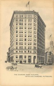 Pittsburgh Pennsylvania~Diamond Bank Building~Trolley~Artist Conception~1901 B&W